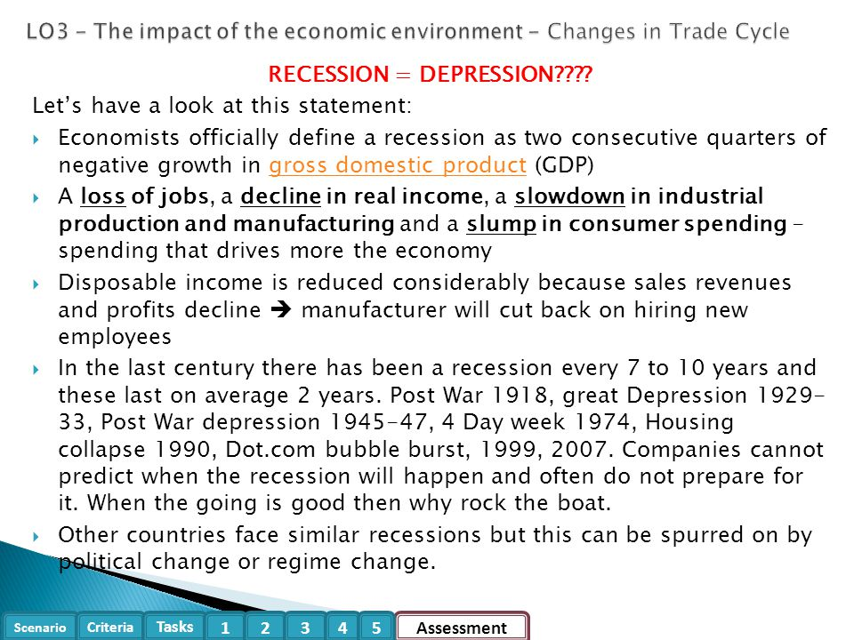 the economic recession's impact on employee A recession is an economic contraction that lasts for at least six months impact, examples in many recessions.