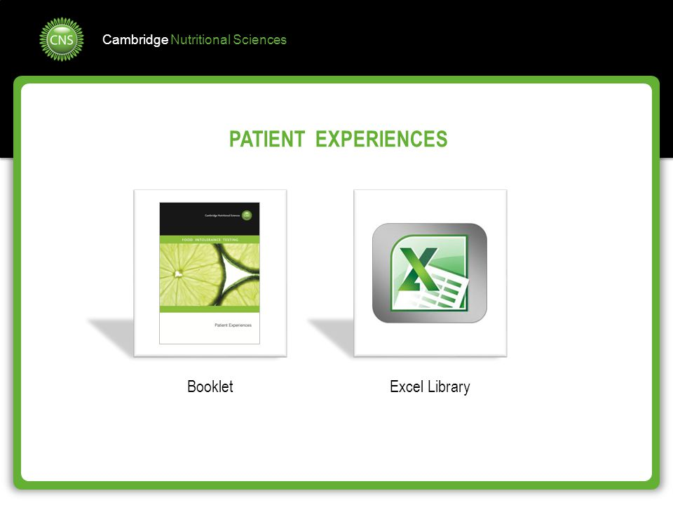 PATIENT EXPERIENCES Booklet Excel Library
