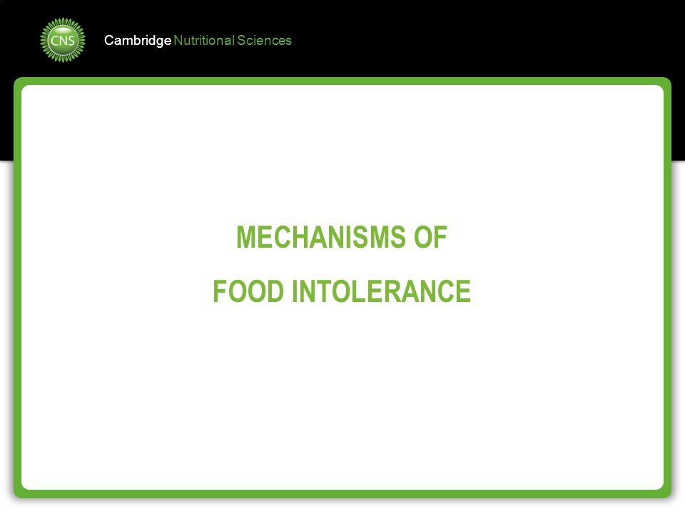 MECHANISMS OF FOOD INTOLERANCE