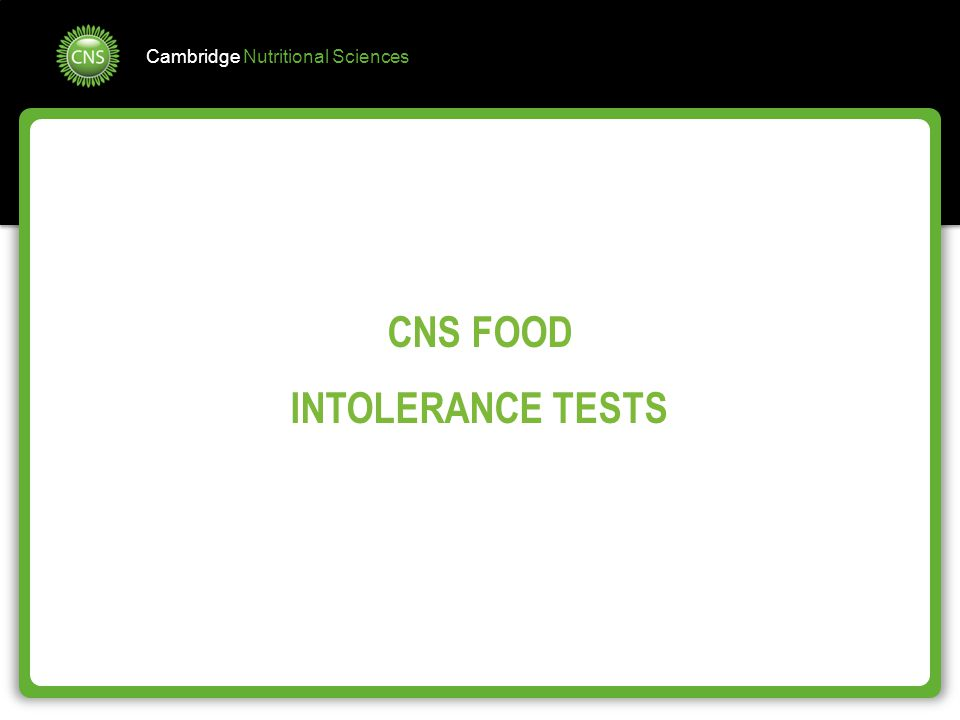 CNS FOOD INTOLERANCE TESTS