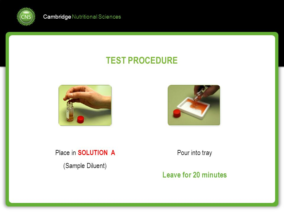 TEST PROCEDURE Leave for 20 minutes Place in SOLUTION A