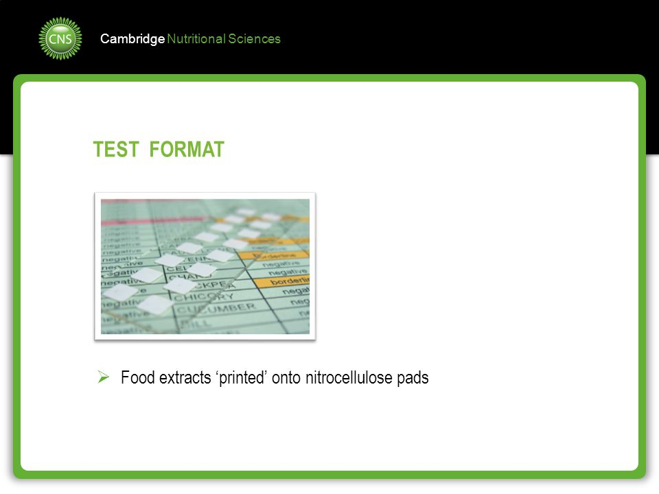 TEST FORMAT Food extracts 'printed' onto nitrocellulose pads
