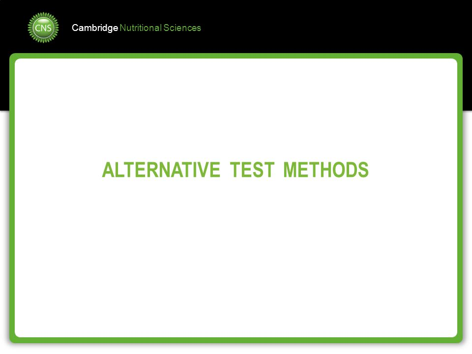 ALTERNATIVE TEST METHODS