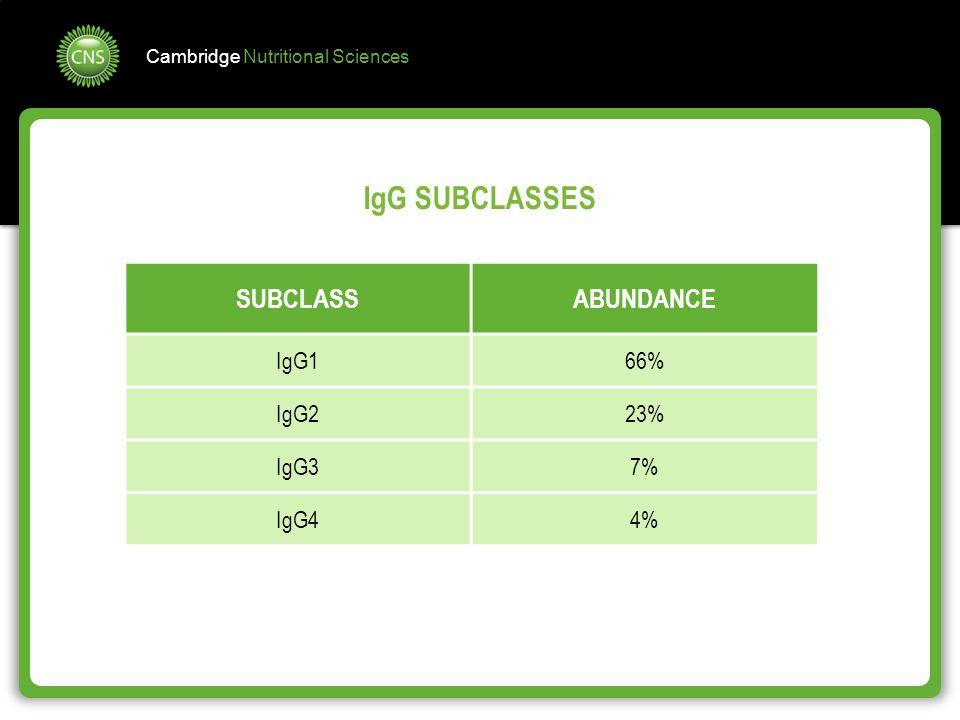 IgG SUBCLASSES SUBCLASS ABUNDANCE IgG1 66% IgG2 23% IgG3 7% IgG4 4%