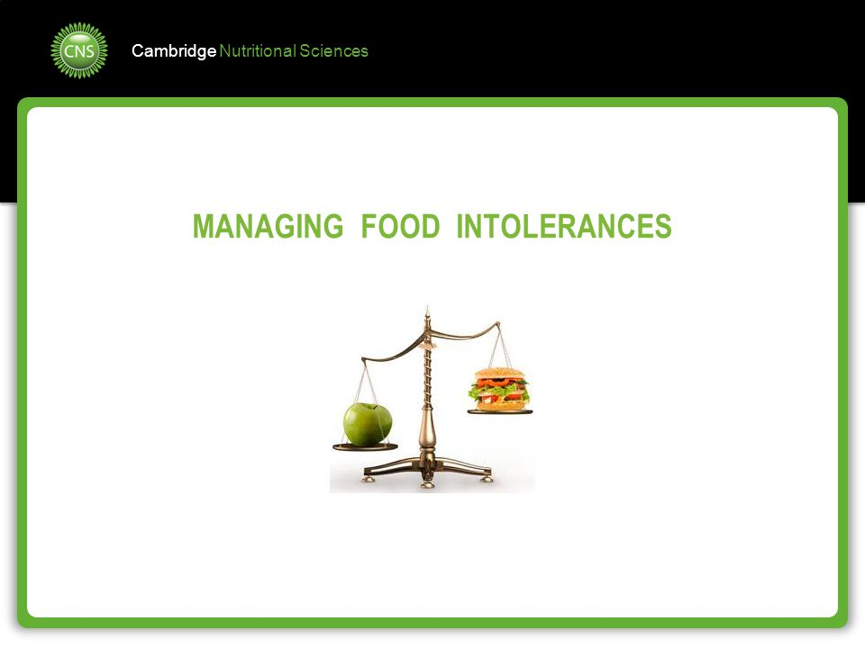 MANAGING FOOD INTOLERANCES