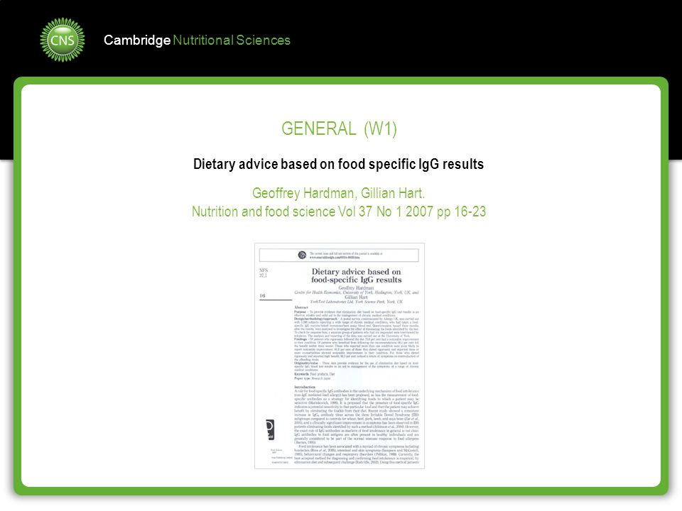 Dietary advice based on food specific IgG results