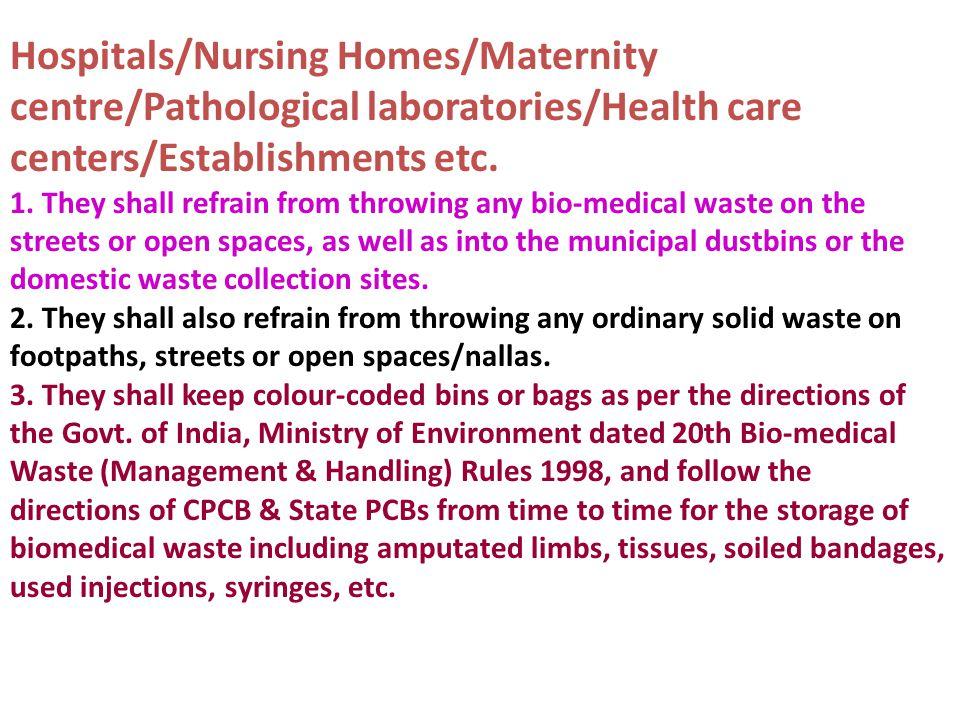 centers/Establishments etc.