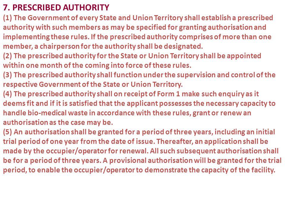 7. PRESCRIBED AUTHORITY
