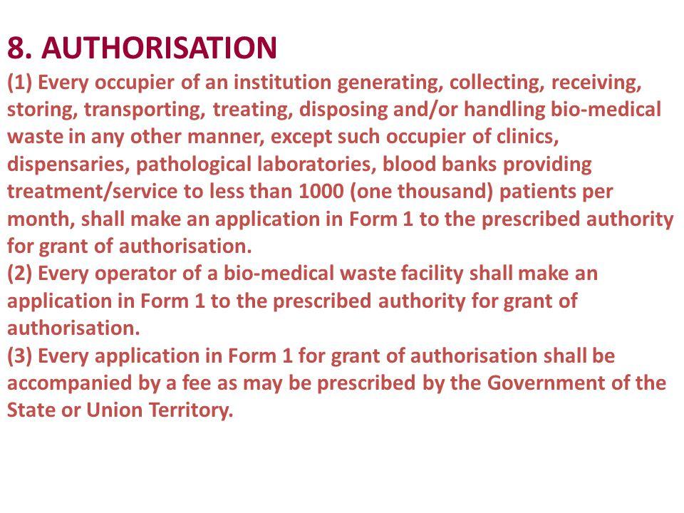 8. AUTHORISATION