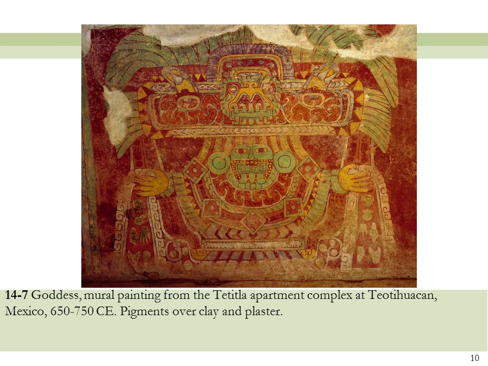 14-7 Goddess, mural painting from the Tetitla apartment complex at Teotihuacan, Mexico, 650-750 CE.