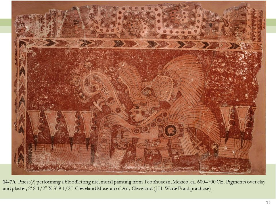 14-7A Priest( ) performing a bloodletting rite, mural painting from Teotihuacan, Mexico, ca.