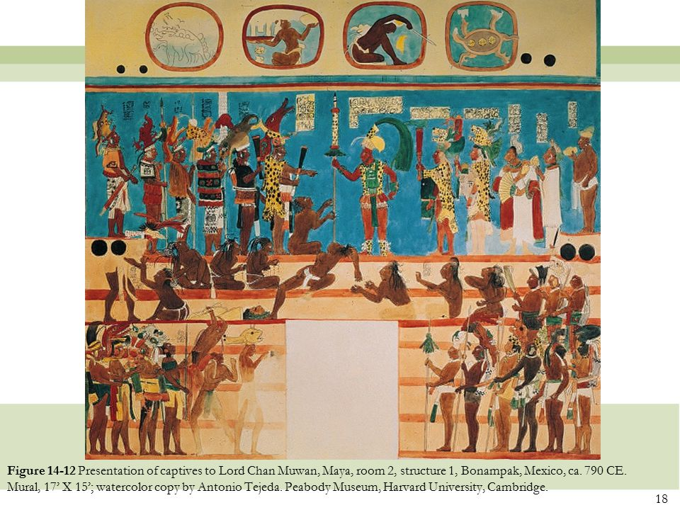 Figure 14-12 Presentation of captives to Lord Chan Muwan, Maya, room 2, structure 1, Bonampak, Mexico, ca.