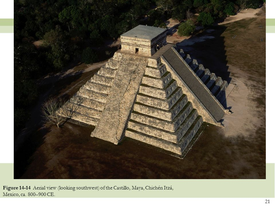 Figure 14-14 Aerial view (looking southwest) of the Castillo, Maya, Chichén Itzá, Mexico, ca.