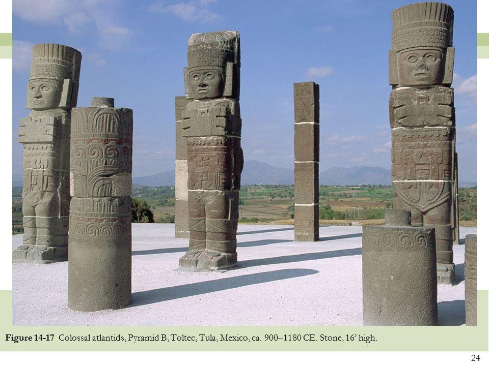 Figure 14-17 Colossal atlantids, Pyramid B, Toltec, Tula, Mexico, ca