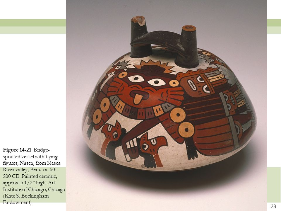 Figure 14-21 Bridge-spouted vessel with flying figures, Nasca, from Nasca River valley, Peru, ca.