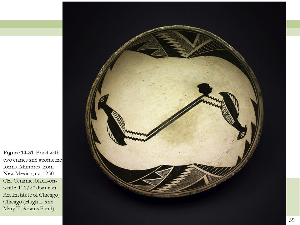 Figure 14-31 Bowl with two cranes and geometric forms, Mimbres, from New Mexico, ca.