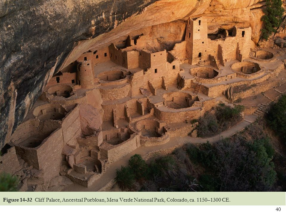 Figure 14-32 Cliff Palace, Ancestral Puebloan, Mesa Verde National Park, Colorado, ca. 1150–1300 CE.