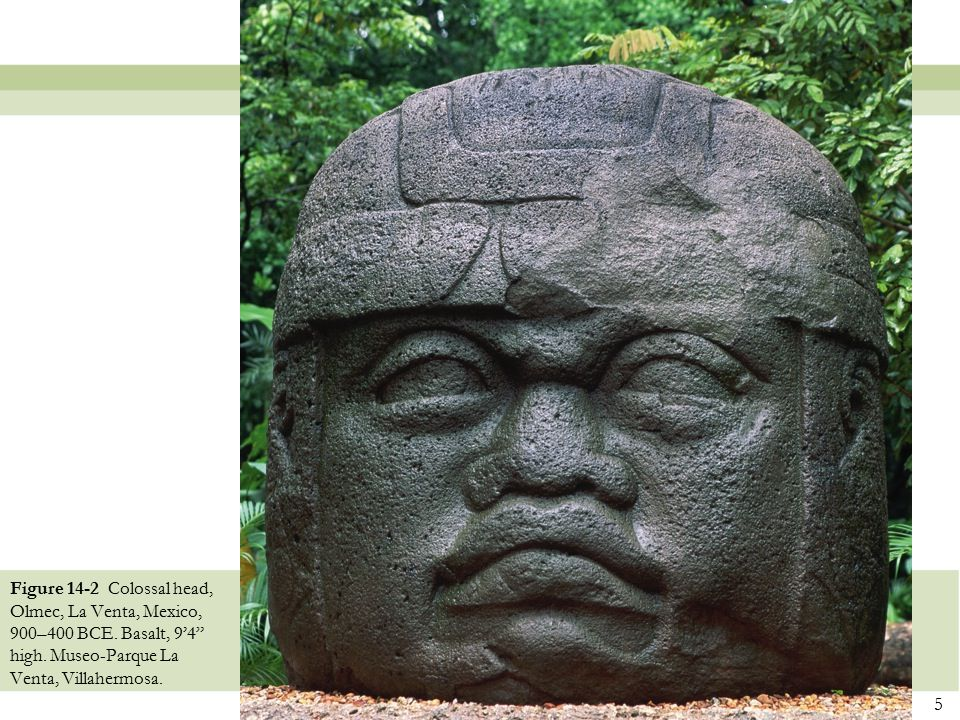 Figure 14-2 Colossal head, Olmec, La Venta, Mexico, 900–400 BCE