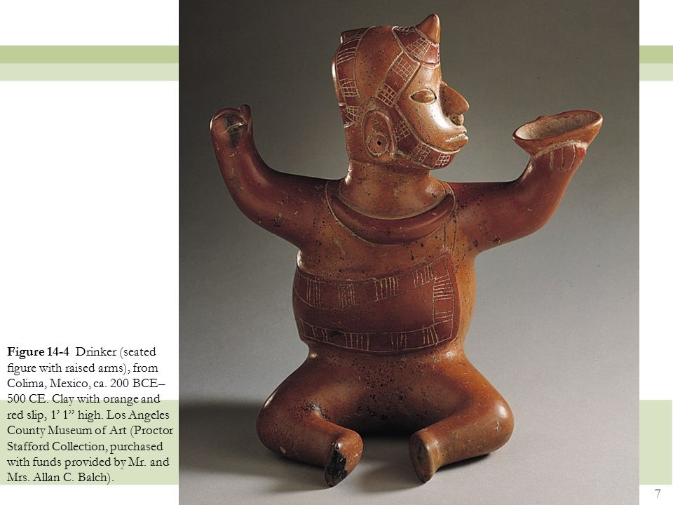 Figure 14-4 Drinker (seated figure with raised arms), from Colima, Mexico, ca.