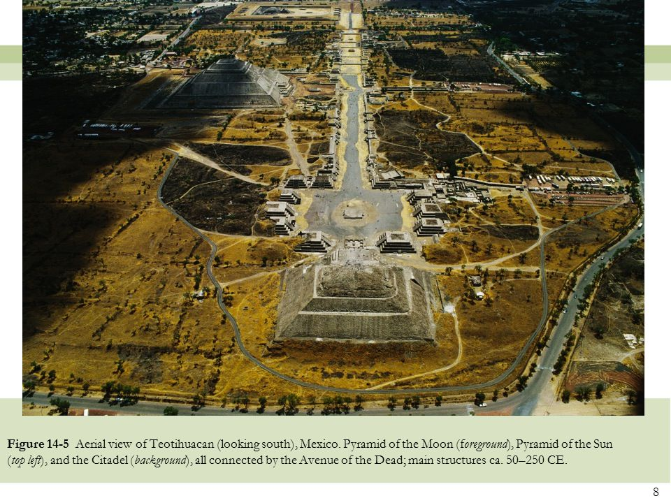 Figure 14-5 Aerial view of Teotihuacan (looking south), Mexico