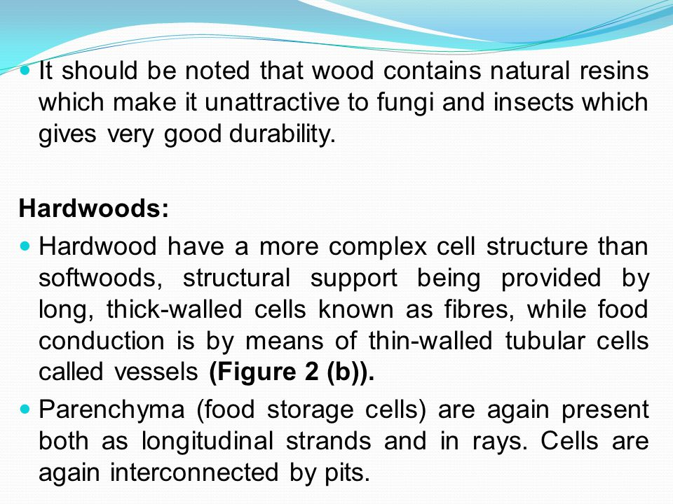 It should be noted that wood contains natural resins which make it unattractive to fungi and insects which gives very good durability.