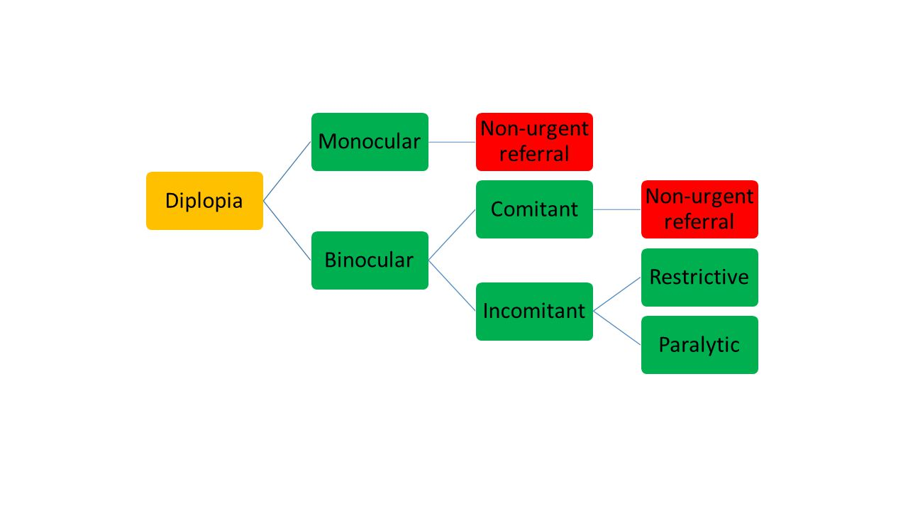 Diplopia Monocular Non-urgent referral Binocular Comitant Incomitant Restrictive Paralytic