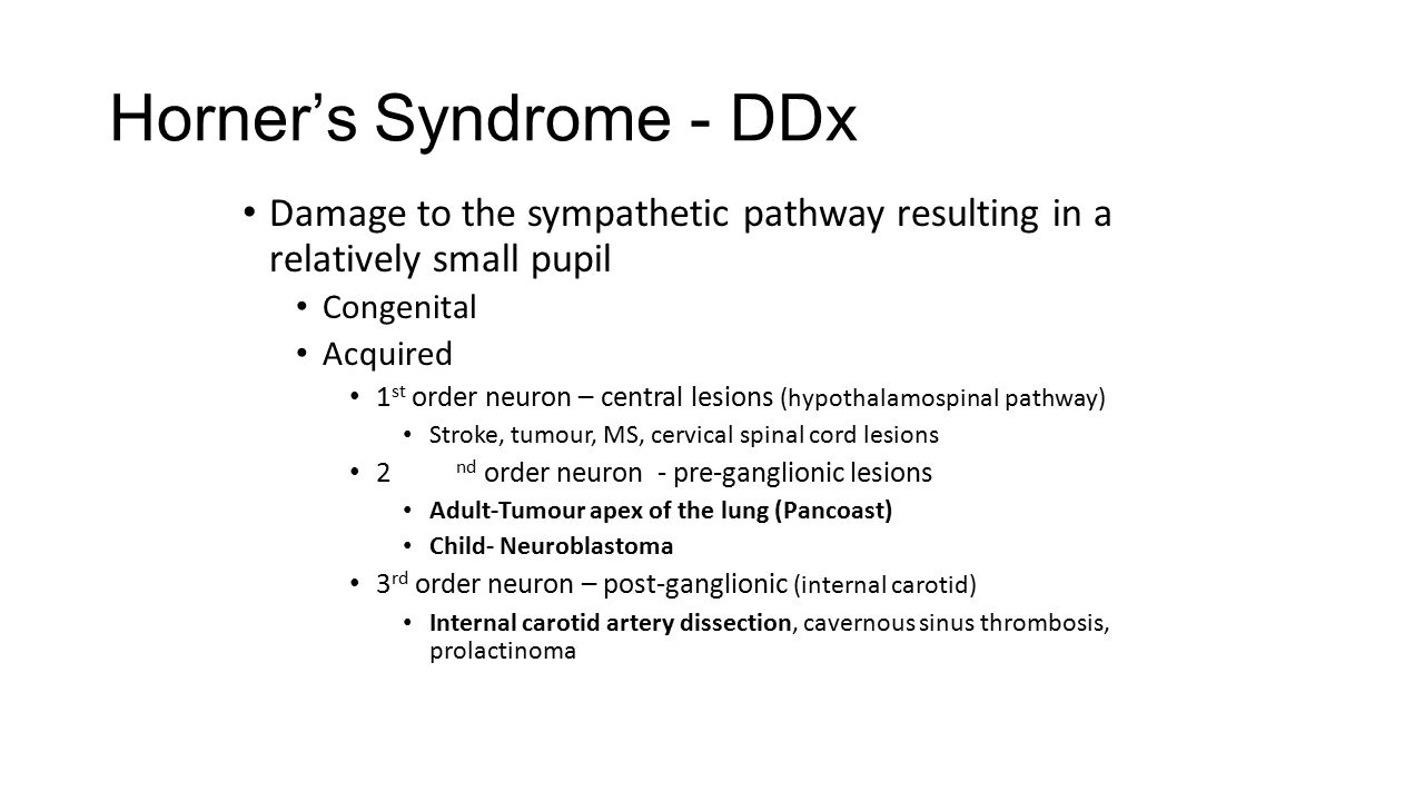 Horner's Syndrome - DDx