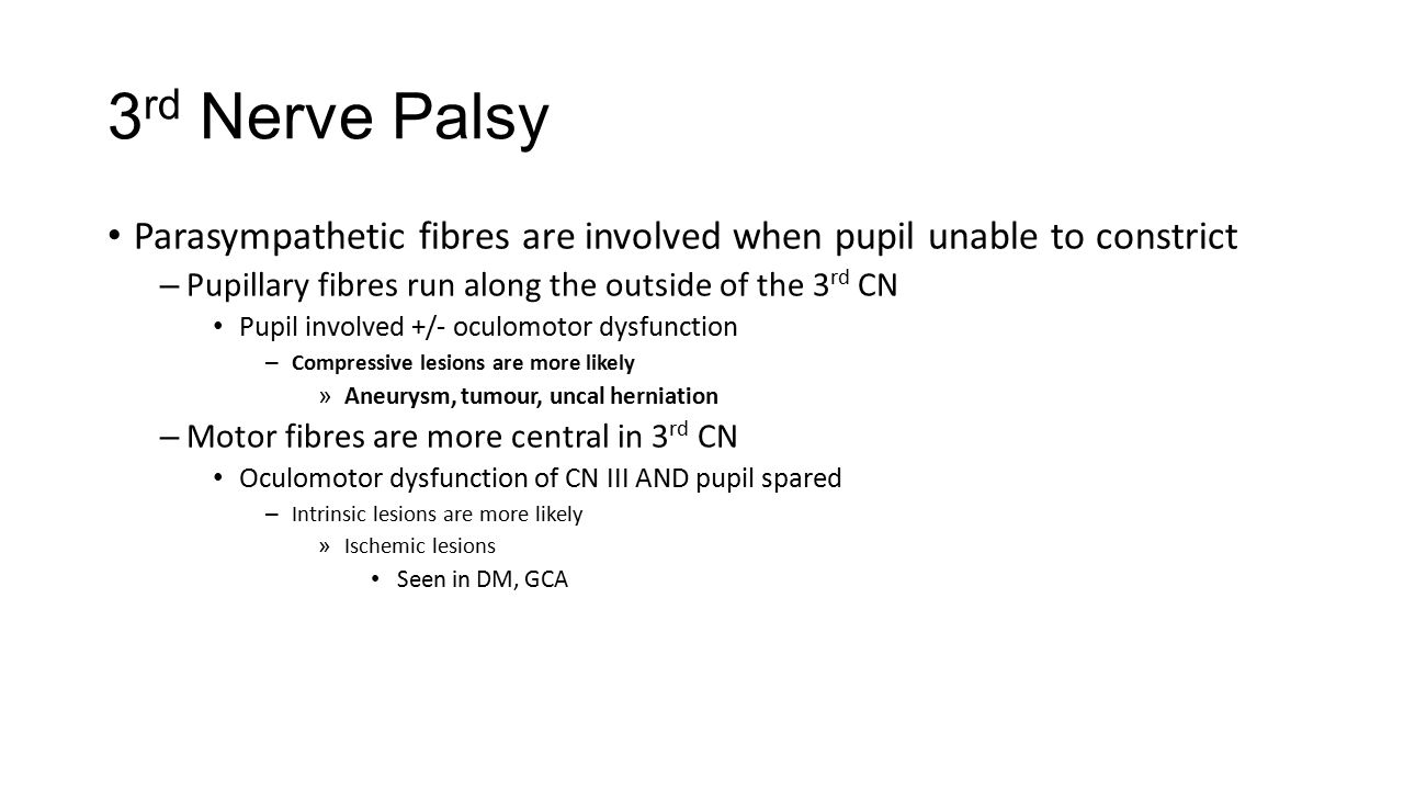 3rd Nerve Palsy Parasympathetic fibres are involved when pupil unable to constrict. Pupillary fibres run along the outside of the 3rd CN.