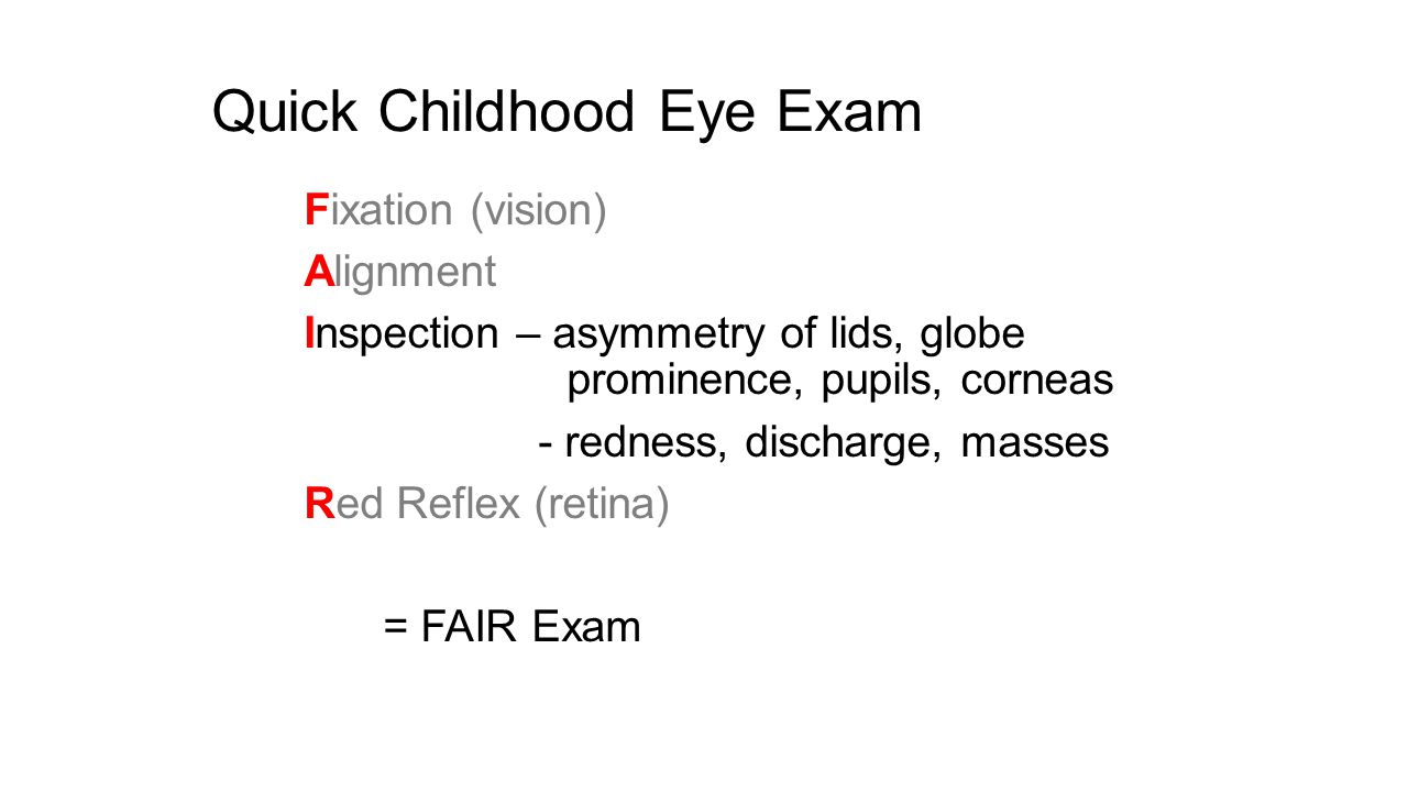 Quick Childhood Eye Exam