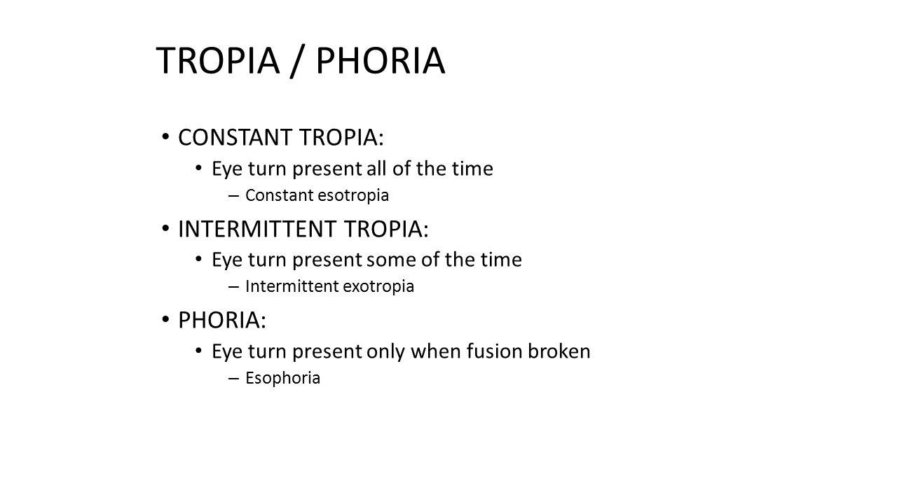 TROPIA / PHORIA CONSTANT TROPIA: INTERMITTENT TROPIA: PHORIA: