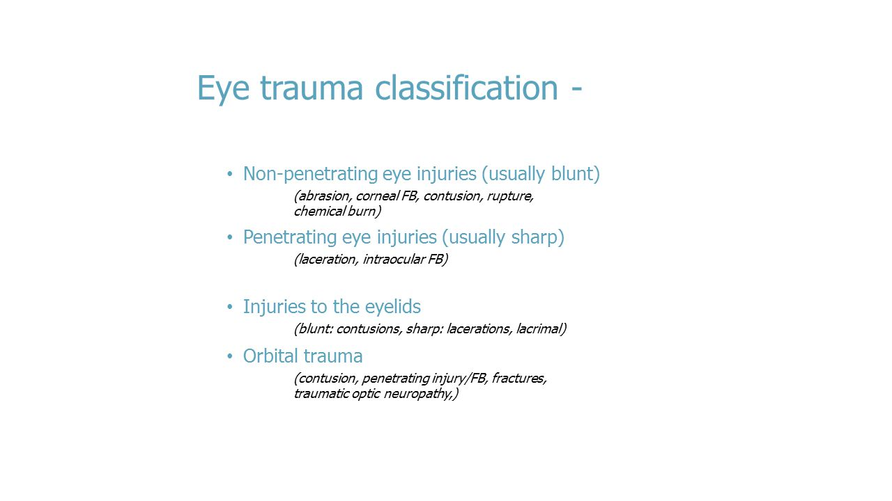 Eye trauma classification -