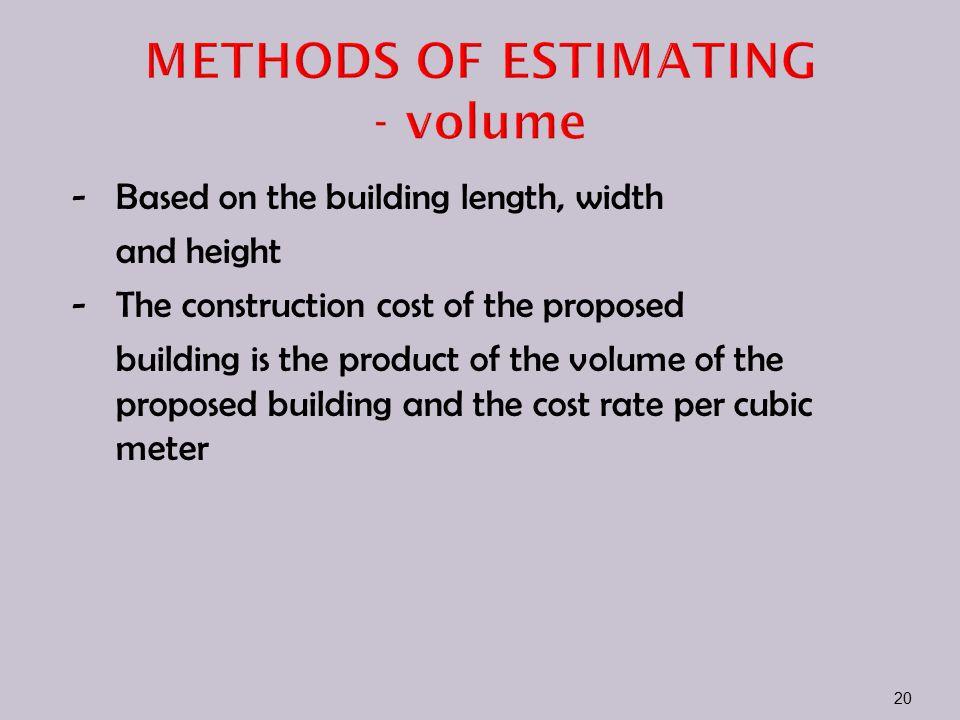 METHODS OF ESTIMATING - volume