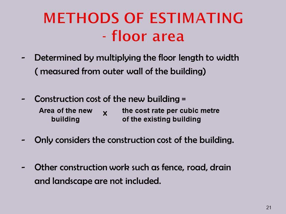 METHODS OF ESTIMATING - floor area