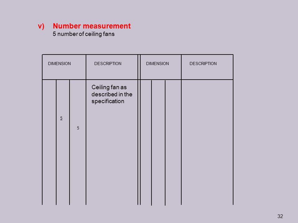 Number measurement 5 number of ceiling fans