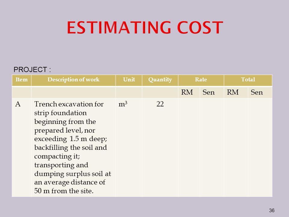 ESTIMATING COST PROJECT : RM Sen A