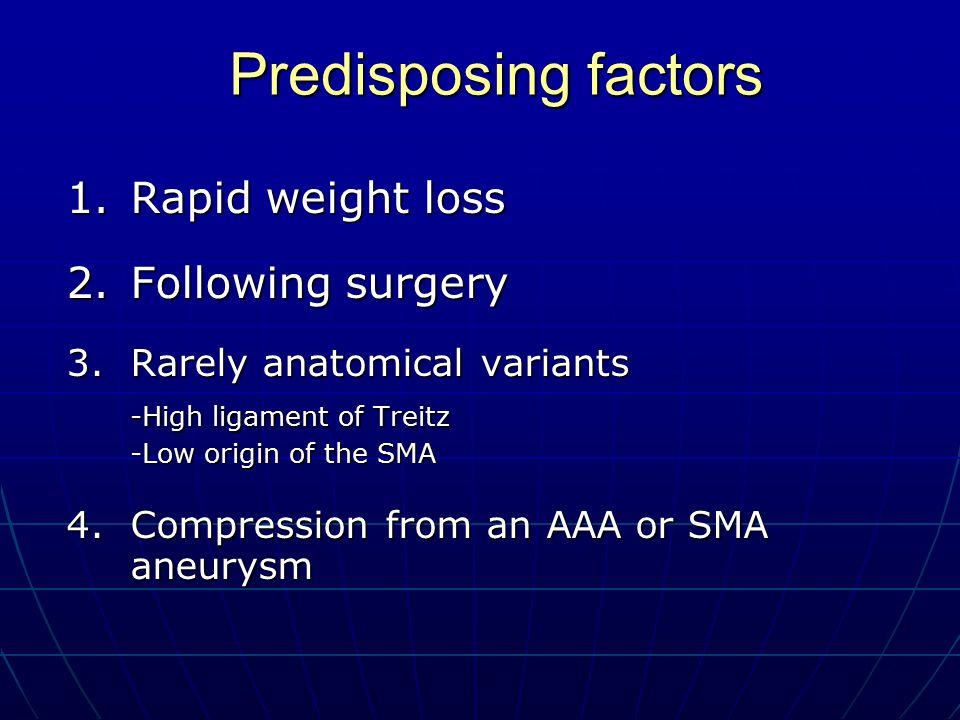 Predisposing factors 1. Rapid weight loss 2. Following surgery