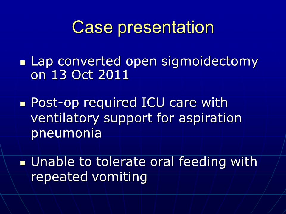 Case presentation Lap converted open sigmoidectomy on 13 Oct 2011