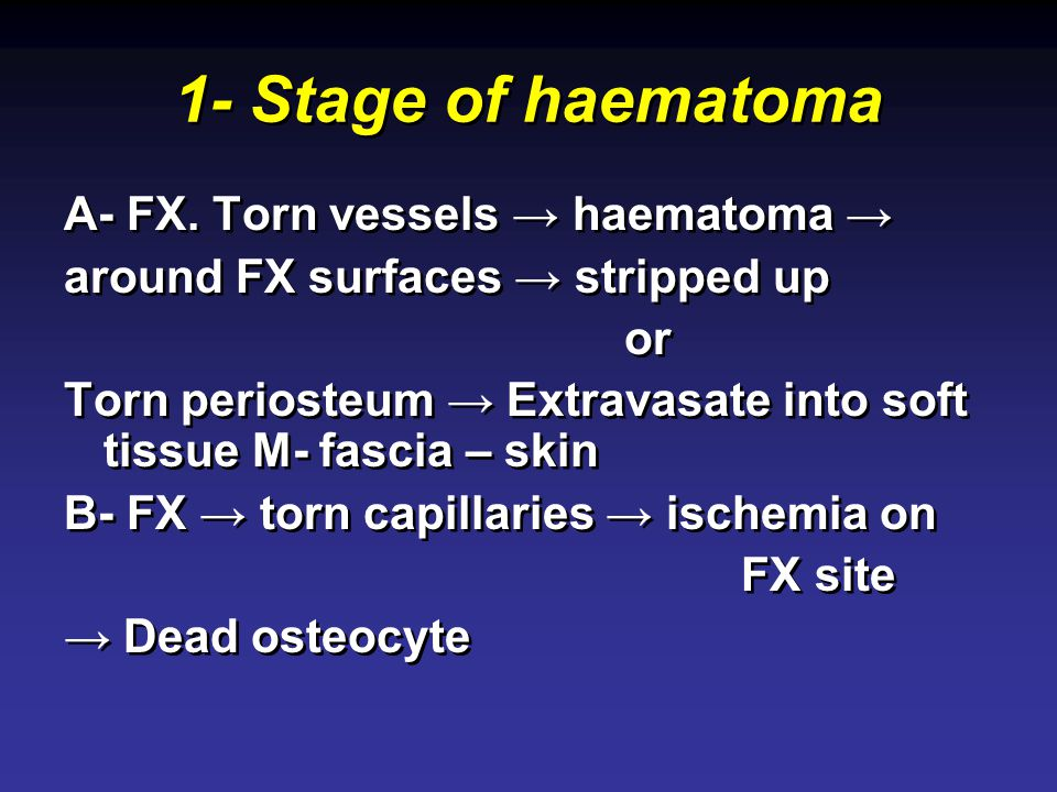 1- Stage of haematoma A- FX. Torn vessels → haematoma →