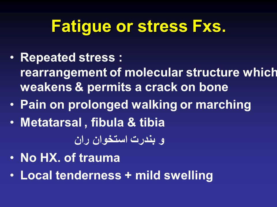 Fatigue or stress Fxs.