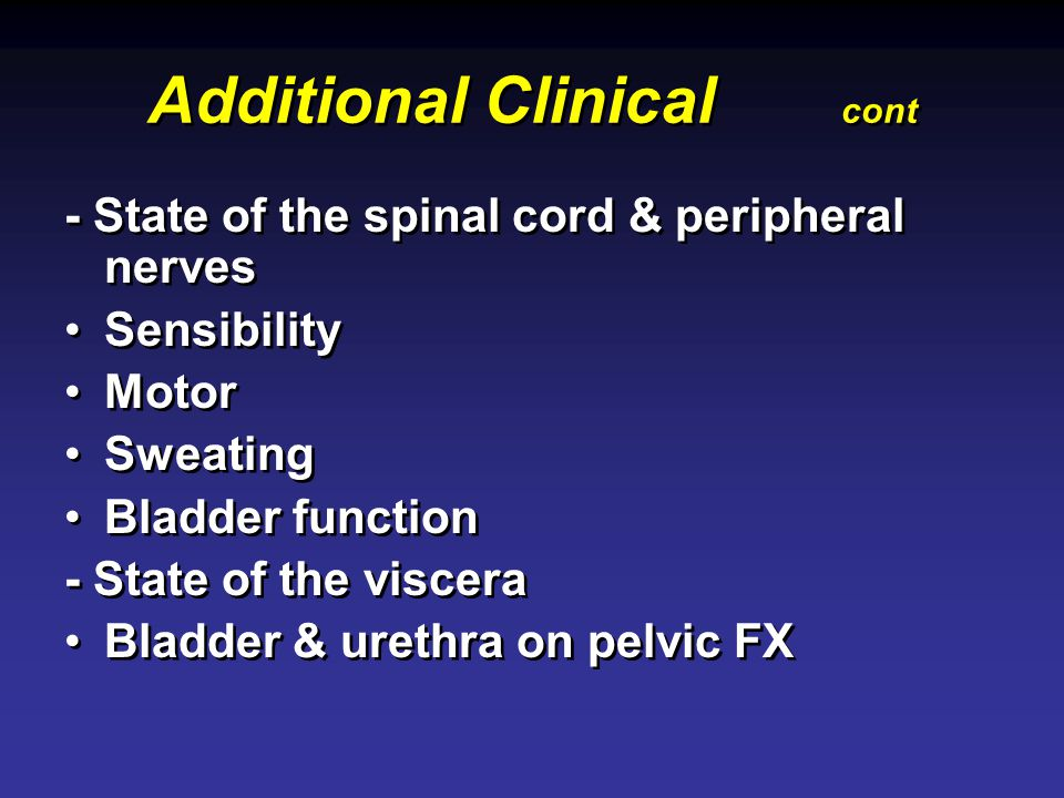 Additional Clinical cont