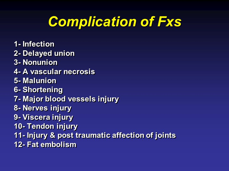 Complication of Fxs 1- Infection 2- Delayed union 3- Nonunion