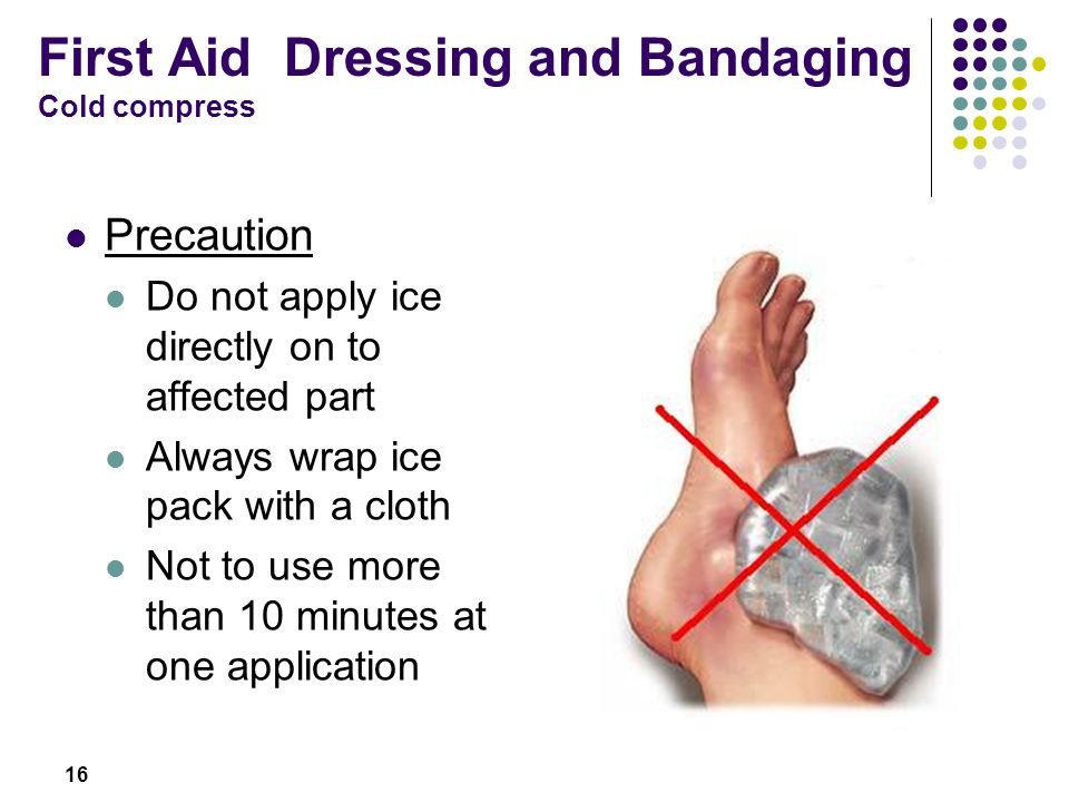 First Aid Dressing and Bandaging Cold compress
