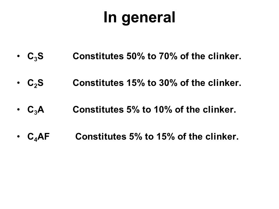 In general C3S Constitutes 50% to 70% of the clinker.