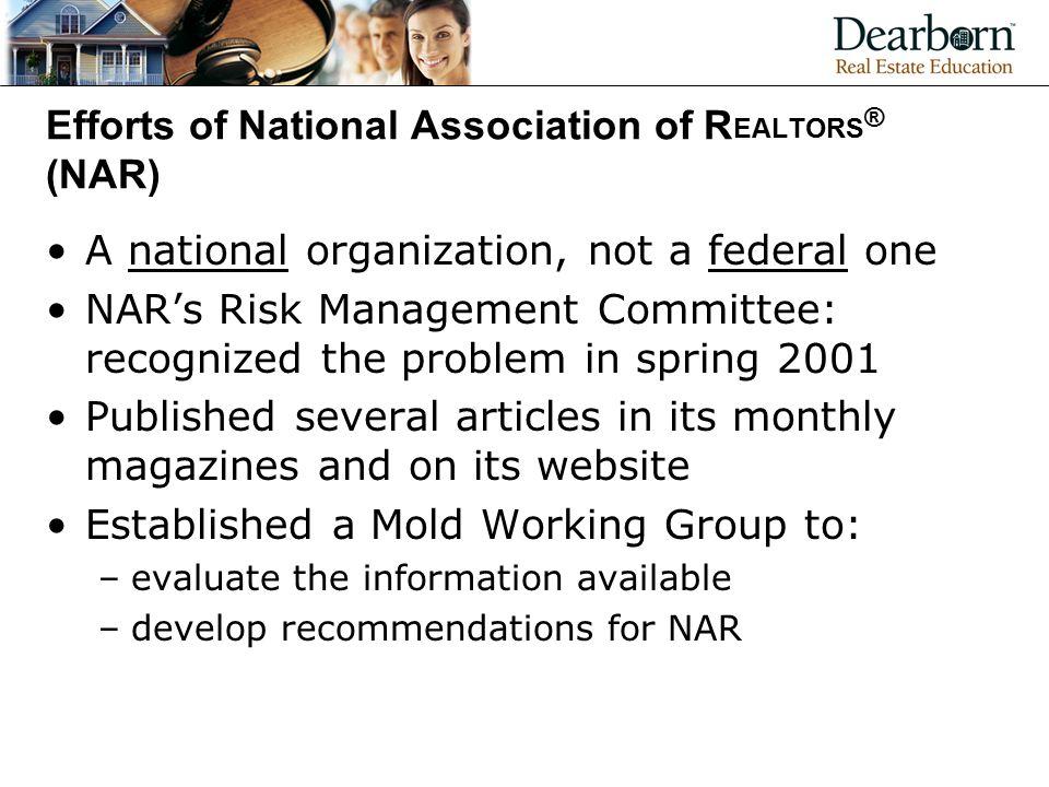 Efforts of National Association of REALTORS® (NAR)