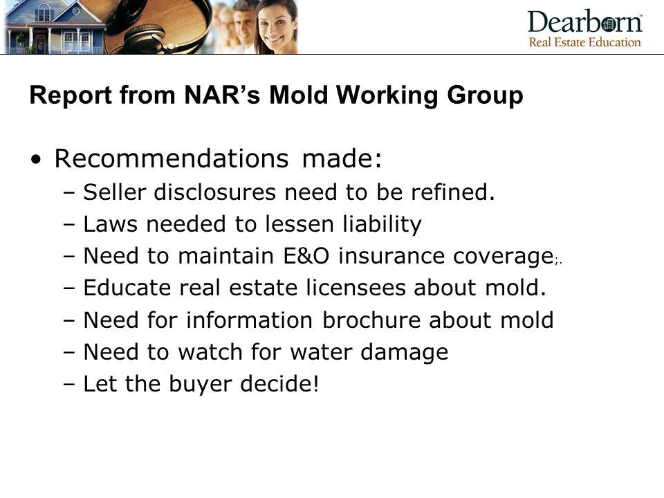Report from NAR's Mold Working Group