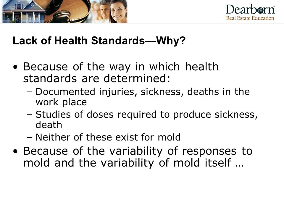 Lack of Health Standards—Why