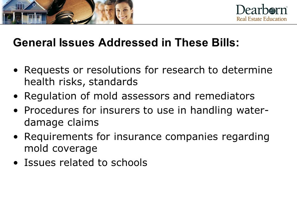 General Issues Addressed in These Bills: