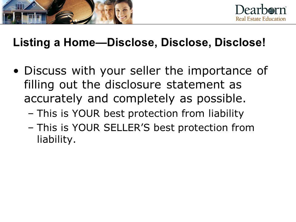 Listing a Home—Disclose, Disclose, Disclose!