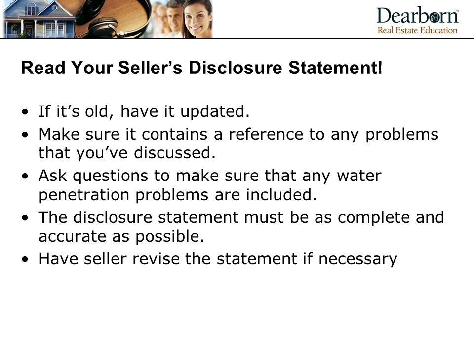 Read Your Seller's Disclosure Statement!