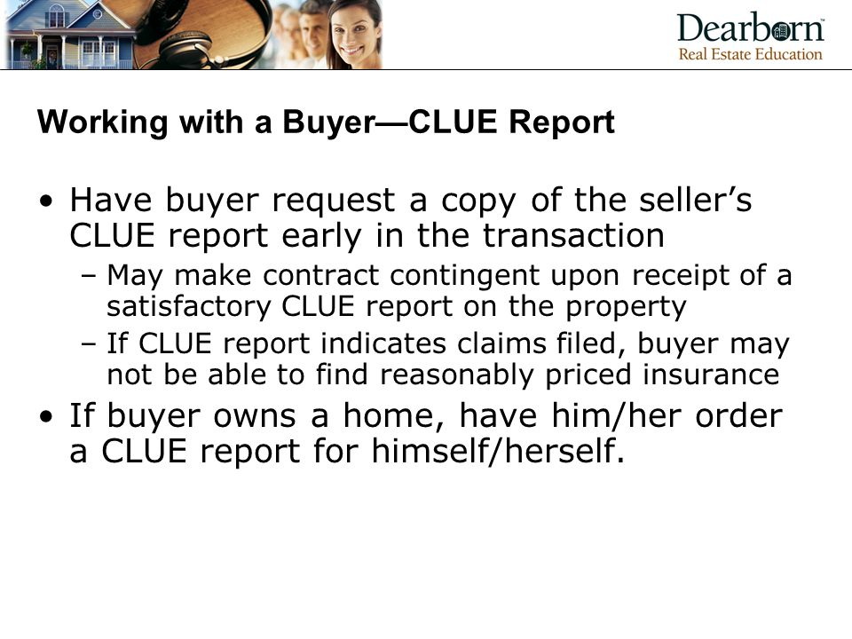 Working with a Buyer—CLUE Report